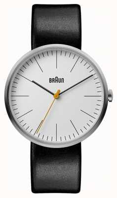 Braun 男士经典白色表盘黑色皮革表带 BN0173WHBKG