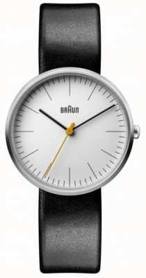 Braun 女式经典白色表盘黑色皮表带 BN0173WHBKL