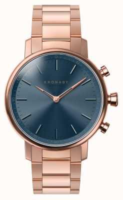 Kronaby 38毫克克拉蓝牙玫瑰金手镯蓝色表盘smartwatch A1000-2445