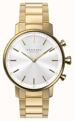 Kronaby 38毫米克拉蓝牙金手链银色表盘a1000-2447 S2447/1