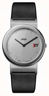 Braun 经典1989年贡品设计黑色皮革表带灰色 AW50
