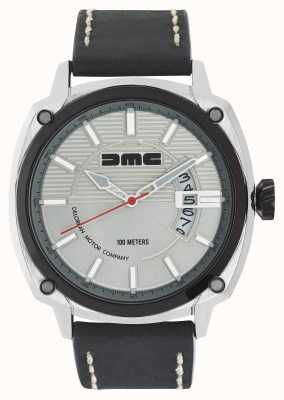 DeLorean Motor Company Watches Alpha dmc银色男士银色表盘黑色皮革表带 DMC-3