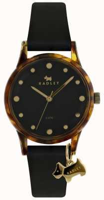 Radley 女士黑色33毫米表壳黑色表盘黑色狗的魅力 RY2640