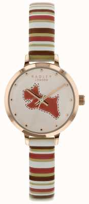 Radley 女士24毫米表盘白垩/棕褐色珊瑚皮表带 RY2628