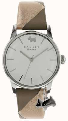Radley 女士银色35毫米表壳银色/白色表盘银色狗的魅力 RY2647
