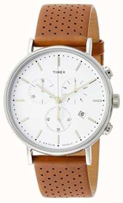 Timex Fairfield chrono棕色皮革表带/白色表盘 TW2R26700