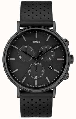 Timex Fairfield chrono黑色皮革表带/黑色表盘 TW2R26800