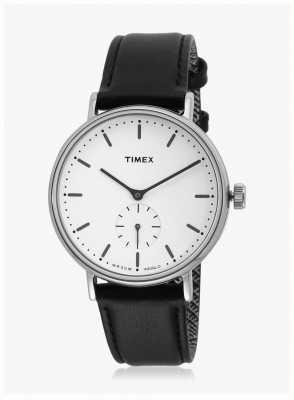 Timex 费尔菲尔德分秒针Silvertone表壳白色表盘黑色表带 TW2R38000