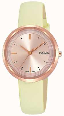 Pulsar 玫瑰金表壳和表盘皮革表带 PH8394X1