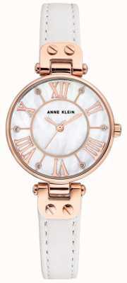 Anne Klein 女士简表玫瑰金表壳真皮表带 AK/N2718RGWT