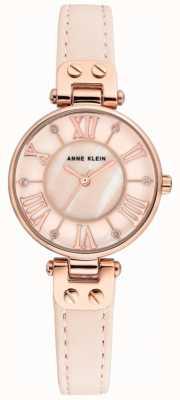 Anne Klein 女士简表玫瑰金表壳真皮表带 AK/N2718RGPK