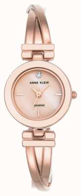 Anne Klein 女士Liliana裸色银色表壳皮革表带 AK/N2685PMLP