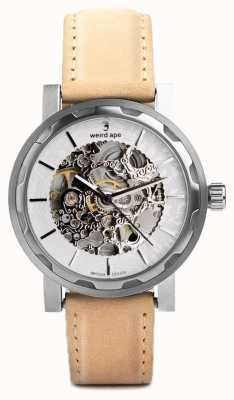 Weird Ape Kolt银色和银色表盘砂岩绒面革表带 WA02-005533