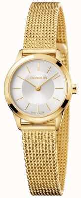 Calvin Klein 女士们最小的金色网眼手链白色表盘 K3M23526