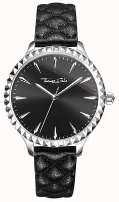 Thomas Sabo 女士们的心底黑色皮革表带黑色表盘反叛 WA0321-203-203-38