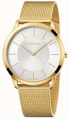 Calvin Klein 男士最小黄金网眼手链银色表盘手表 K3M2T526