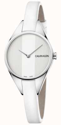Calvin Klein 女士们的反叛白色皮革薄表带手表 K8P231L6