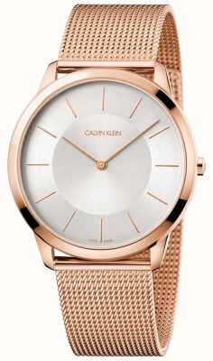 Calvin Klein 男士玫瑰金网眼手链银色表盘 K3M2T626