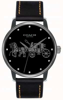 Coach 女式大黑色表壳和黑色皮革表带 14502974