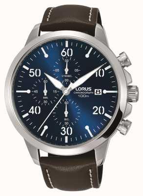 Lorus 男士计时腕表棕色真皮表带蓝色表盘 RM353EX9