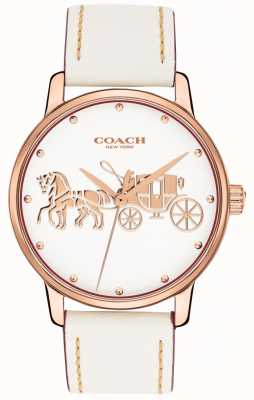 Coach 女式大白皮表带玫瑰金表壳白色表盘 14502973
