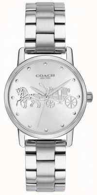 Coach 女式大黑色表壳和手链银色不锈钢 14502975