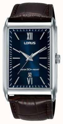 Lorus 男士长方形手表棕色真皮表带蓝色表盘 RH911JX9