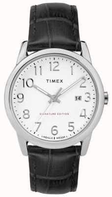Timex 简单的阅读器签名与日期38毫米皮革手表 TW2R64900