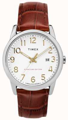 Timex 简单的阅读器签名与日期38毫米皮革手表 TW2R65000