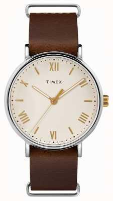 Timex 男士41毫米南方棕色真皮表带奶油表盘 TW2R80400