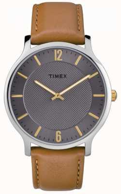 Timex 男士苗条天际线40毫米棕色皮革表带灰色表盘 TW2R49700