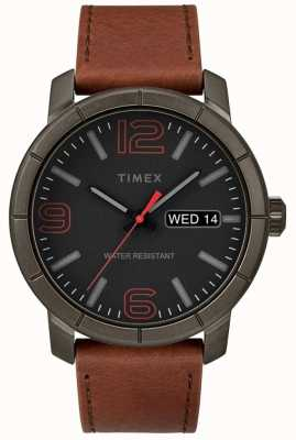 Timex 男装mod 44棕褐色真皮表带黑色表盘 TW2R64000