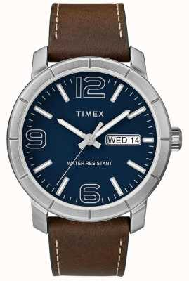 Timex 男装mod 44棕色真皮表带蓝色表盘 TW2R64200