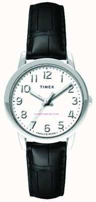 Timex 女装30毫米轻松阅读器黑色鳄鱼皮表带白色表盘 TW2R65300