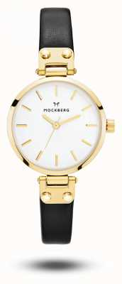 Mockberg 佐贺娇小的黑色表带白色表盘 MO207