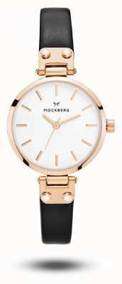 Mockberg 西格丽德娇小的黑色表带白色表盘 MO201