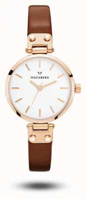 Mockberg Vilde娇小的棕色表带白色表盘 MO209