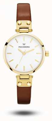 Mockberg Ilse娇小的棕色皮革表带白色表盘 MO208