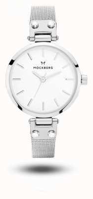 Mockberg Elise娇小的不锈钢网状手链白色表盘 MO402