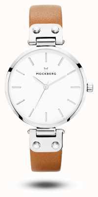 Mockberg Wera棕色皮革表带白色表盘 MO1006