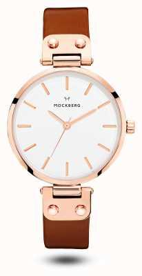 Mockberg Vilde棕色表带白色表盘 MO109