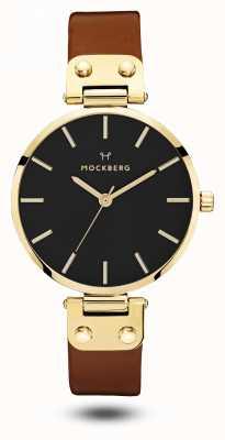 Mockberg Ilse黑色,棕色表带黑色表盘 MO114