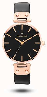 Mockberg Sigrid黑色玫瑰金pvd镀黑色皮革表带 MO110
