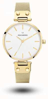 Mockberg 利维亚金镀铂金网眼手链白色表盘 MO1601
