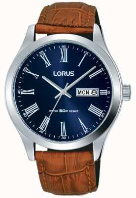 Lorus 棕色真皮表带深蓝色表盘日期和日期显示 RXN55DX9