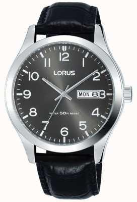 Lorus 黑色皮表带灰色表盘日期和日期显示 RXN59DX9