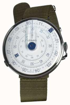 Klokers Klok 01蓝色手表头地衣绿色纺织单肩带 KLOK-01-D4.1+KLINK-03-MC2