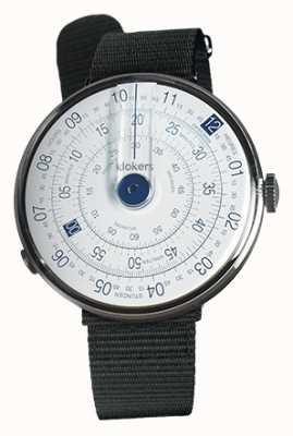 Klokers Klok 01蓝色手表头黑色纺织单肩带 KLOK-01-D4.1+KLINK-03-MC3