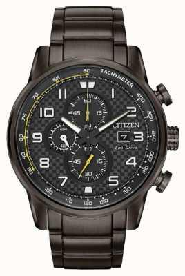 Citizen 男士运动计时码表黑色ip镀金手表 CA0687-58E