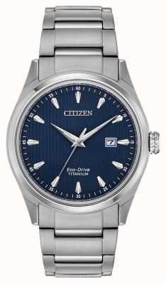 Citizen 男士蓝色表盘银色调超级钛手镯 BM7360-82L